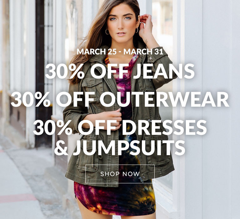 30% off Outerwear Jeans Dresses